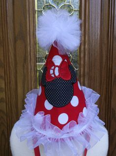 Girls First Birthday Party Hat  Minnie  Mouse Birthday by LilLids, $24.99