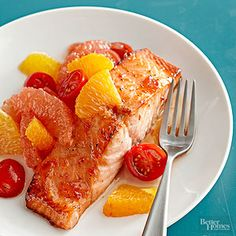 Citrus Salsa Salmon This salmon recipe features a refreshing blend of oranges, cherry tomatoes, and grapefruit. Ready in under 30 minutes, it's a perfect meal anytime.