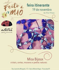 No próximo sábado dia 19 estaremos no bairro Monte Alegre participando da feira itinerante Vila Feito à Mão. Vários artesãos estarão expondo seus trabalhos como jóias em prata terráreos cerâmicas moda e claro as minhas bijuterias! Também teremos comidinhas prá quem quiser aproveitar o dia por lá! Esperamos vocês!  #bijuterias #acessorios #acessórios #bazar #misabijuterias #artesanato #feitoamão #feitoamao #piracicaba #piracity