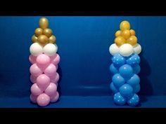 Dollar Store Baby Bottle Balloon Columns Tutorial - YouTube