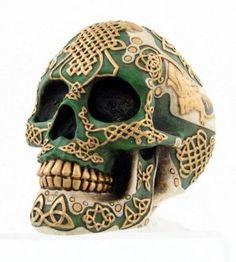 Irish Warrior Skull Paperweight
