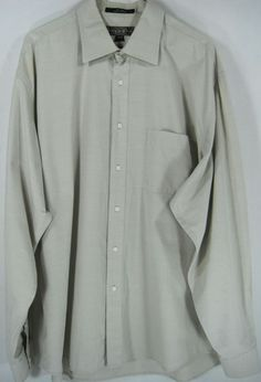 Men Button-Front Shirt Size 17 Inch Neck & 36 Inche Sleeves Khaki 100% Cotton. #NSigna