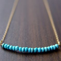 Turquoise Rondelle Necklace 14k Gold. $28.00, via Etsy.