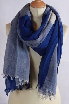 Grand chèche bleu marine et blanc à carreaux  % coton