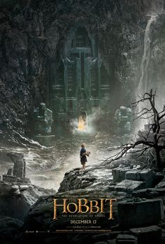 First poster for The Hobbit: The Desolation of Smaug, with Bilbo Baggins (Martin Freeman) facing the glow of the titular dragon (Benedict Cumberbatch) lurking within the Lonely Mountain…