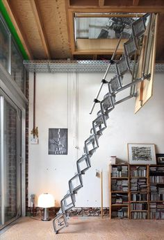 Attic Ladder -- We could make the loft an optional-open space by extending it and giving it a ladder access with hatch. Interior Exterior, Interior Architecture, Interior Design, Cabin Design, House Design, Stair Ladder, Roof Ladder, Attic Spaces, Stairway To Heaven