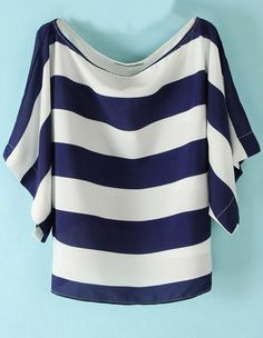 Blue White Striped Loose Batwing Chiffon Blouse - Sheinside.com