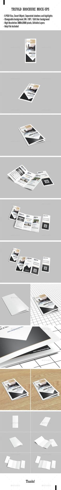 This item consist of 6 different styles brochure mockup to showcase your design in realistic appearaces. These mock-up files uses