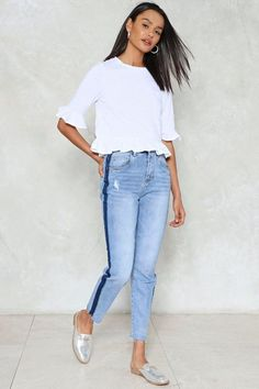 nastygal Look a Little On the Sunny Side Striped Jeans
