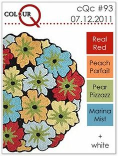 real red, peach parfait, pear pizzazz, marina mist, white