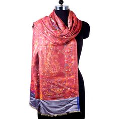 "Add a touch of class with our beautiful Poly Silk Shawl in 28"" x 80"". Intricately woven in magnificent Red, Maroon, Grey red shawl, poly silk shawl,shawl, shawlscolor and Abstract design with subtle embellishment."