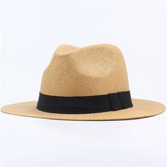 52515a1124a10 Men Women Summer Casual Vacation Panama Straw Hat Beach Sun Hat is hot sale  on Newchic.