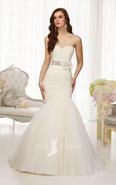 fit and flare sweetheart strapless drop waist wedding dress with flower sash