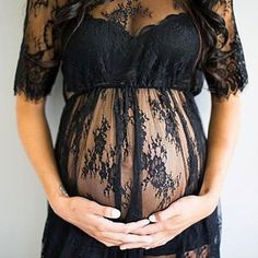 Pregnant Women Long Dresses Lace Floral Maternity Gown Photography Props Clothes