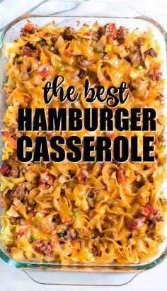 Baked with noodles, ground beef, seasonings, cheese, and vegetables, this hamburger casserole recipe is a delicious, hearty meal that is simple enough for busy nights.