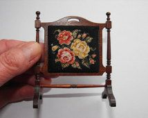 NEW REDUCED PRICE!!12th scale Dolls house Victorian Fire screen in fine petitepoint