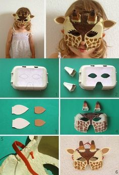 Giraffe mask made from a cardboard packing tray