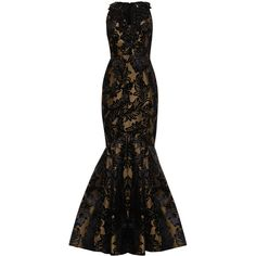 ANDREW GN Jacquard Gown With Embellished V Neck (€1.765) ❤ liked on Polyvore featuring dresses, gowns, vestidos, long dresses, evening dresses, black cocktail dresses, deep v neck dress, black evening dresses and evening ball gowns
