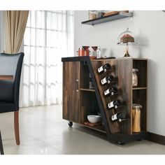 Brayden Studio Simonds Mobile Bar with Wine Storage Corner Bar Cabinet, Wine Bar Cabinet, Small Liquor Cabinet, Corner Wine Bar, Modern Bar Cabinet, Wine Hutch, Drinks Cabinet, Used Cabinets, Wine Cabinets