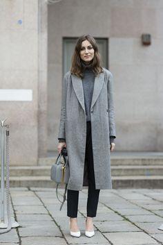 Idée look chic avec manteau gris