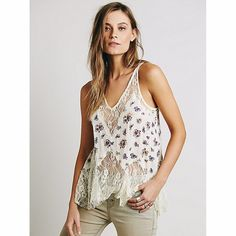 Belle trapeze print cami Off white with purple flower print/ design, delicate/ light material with white lace Free People Tops Camisoles