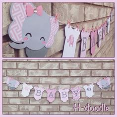 Baby Elephant Banner with Onesies Pink and Grey Baby Shower Decoration Baby Shower Centerpieces, Baby Shower Favors, Baby Shower Invitations, Baby Shower Gifts, Elephant Baby Showers, Baby Elephant, Elephant Theme, Baby Girl Shower Themes, Baby Boy Shower