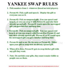 Yankee Swap Rules