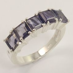 Natural IOLITE Gemstone 925 Sterling Silver Jewelry Party Wear Ring Size US 7.25 #Unbranded