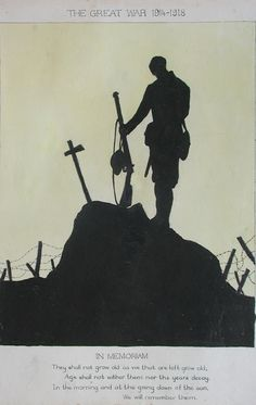 Art: Detail | David Cohen Fine Art - Art of the First World War - 1914-1918: Soldier Silhouette, Silhouette Art, Silhouette Tattoos, World War One, First World, Remembrance Day Art, Ww1 Art, War Tattoo, Anzac Day