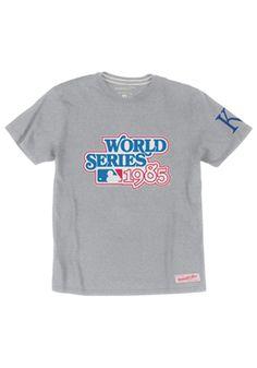 Kansas City Royals Mitchell and Ness Fashion T-Shirt - Grey 1985 World Series Champs Short Sleeve Fashion Tee