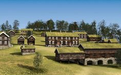 .several farms and their storage stabbur