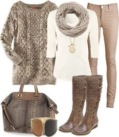Cute winter outfit. - StylinDays Love the white shirt & scarf with tan jeans