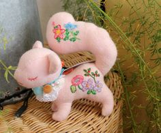 Pink darling squirrel with precious embroidery by red-pompom