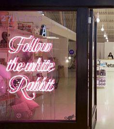 'Follow the white rabbit' Neon in Barcelona, Spain