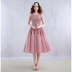 Cocktail+Party+Dress+Ball+Gown+Jewel+Tea-length+Lace+/+Tulle+with+Beading+/+Lace+–+USD+$+80.99
