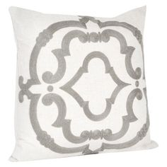 """Embroidered Design Pillow Grey (17""""x17"""") : Target"""