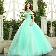 Elegant Flower Applique Ball Gown Dress ❤ liked on Polyvore featuring dresses, gowns, green ball gown, green evening gown, flower applique dress, green dress and flower gown