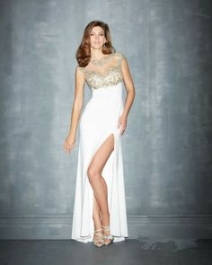 Modern White Jewel Evening Dress