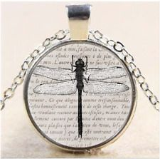 NEW Vintage Dragonfly Cabochon Tibetan Silver Glass Chain Pendant Necklace - https://barskydiamonds.com/necklaces/