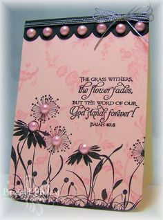 Flowers and Pearls by bfinlay - Cards and Paper Crafts at Splitcoaststampers Scrapbook Paper Crafts, Scrapbook Cards, Sympathy Cards, Greeting Cards, Pink Cards, Paper Cards, Craft Party, Flower Cards, Creative Cards