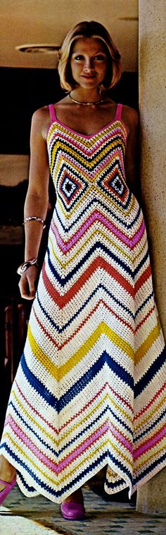 Chevron Crochet Dress Vintage Crochet Pattern Download by MomentsInTwine on Etsy