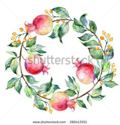 Vector round frame of watercolor pomegranate and berries. Watercolor illustration wreath of pomegranate and leaves. Can be used as a greeting card for background, birthday, mother's day and so on.