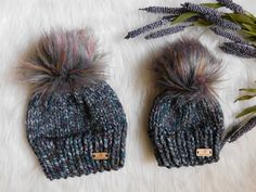 Newborn White//Charcoal//Grey Stripe Hand-Knitted Baby Bobble Hat With Multi Pompom