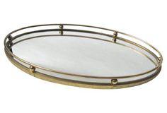 Brass Rail Mirror Tray