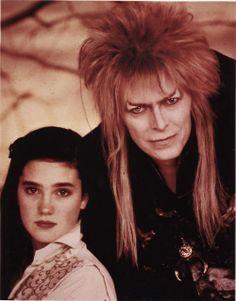 King Jareth, David Bowie and Sarah Williams, Jennifer Connelly The Labyrinth David Bowie Labyrinth, Labyrinth 1986, Labyrinth Movie, Goblin King, Jim Henson, Sarah And Jareth, Labrynth, Star David, Fantasy Films