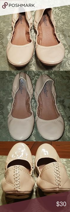 Lucky Brand ballet flats Great neutral colored light Beige lucky patent ballet flats with elasticized ruched topline, fits like a dream and very well cushion insole for a ballet flat. Very comfy and in good condition a few scuffs on bottom right toe, not very noticeable when wearing and a fee heel creases. Lucky Brand Shoes Flats & Loafers