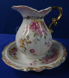 Antique Lefton China Pitcher And Bowl