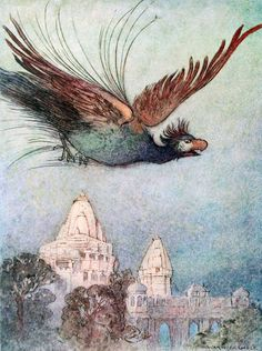 """A monstrous bird comes out apparently from the palace"", ill. 12, pg 117 from Warwick Goble: Folktales of Bengal, 1912"