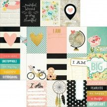 """Simple Stories I AM 12""""x12"""" Double Sided Cardstock with Gold Foil - 3x4 Elements 4510"""