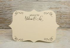 Personalized Wedding Advice note cards